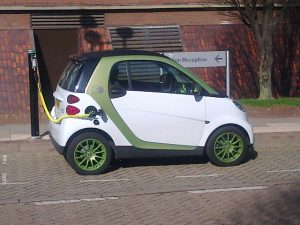 smart car at charging station