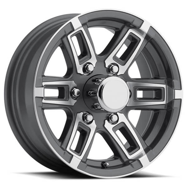 t06 gray machined trailer rim by sendel wheels wheel size 15x6 performance plus tire. Black Bedroom Furniture Sets. Home Design Ideas