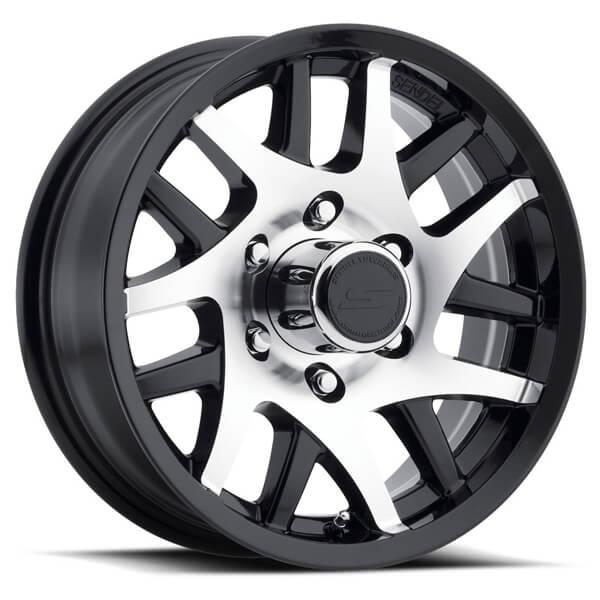 t15 black machined trailer rim by sendel wheels wheel size 15x6 performance plus tire. Black Bedroom Furniture Sets. Home Design Ideas