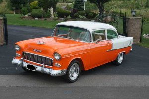 A Tangelo Orange Not-for-Licking '55 Chevy 210