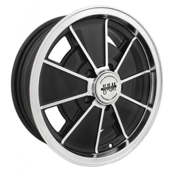 Brm 5 Lug Gloss Black Rim With Polished Lip And Edges By