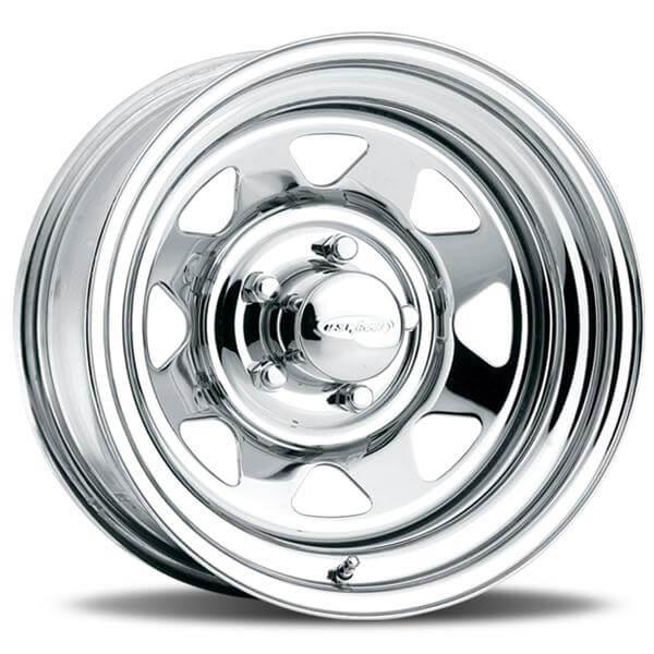 8 spoke 75 series chrome rim by u s wheels wheel size 15x8 performance plus tire. Black Bedroom Furniture Sets. Home Design Ideas